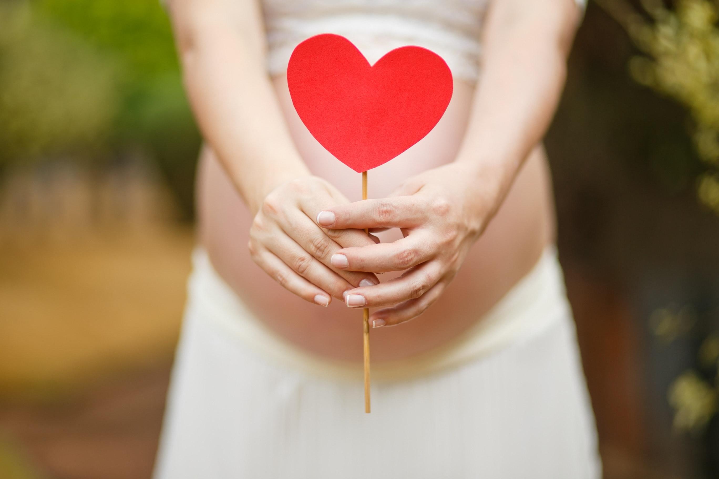 Gravid kvinna håller dekorationspinne